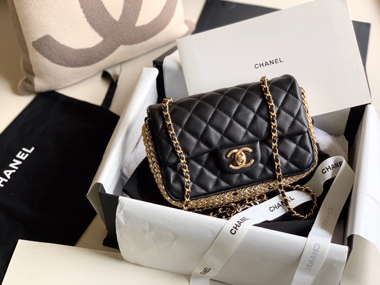 Chanel CF,香奈儿春夏新款串珠方胖子,20cm