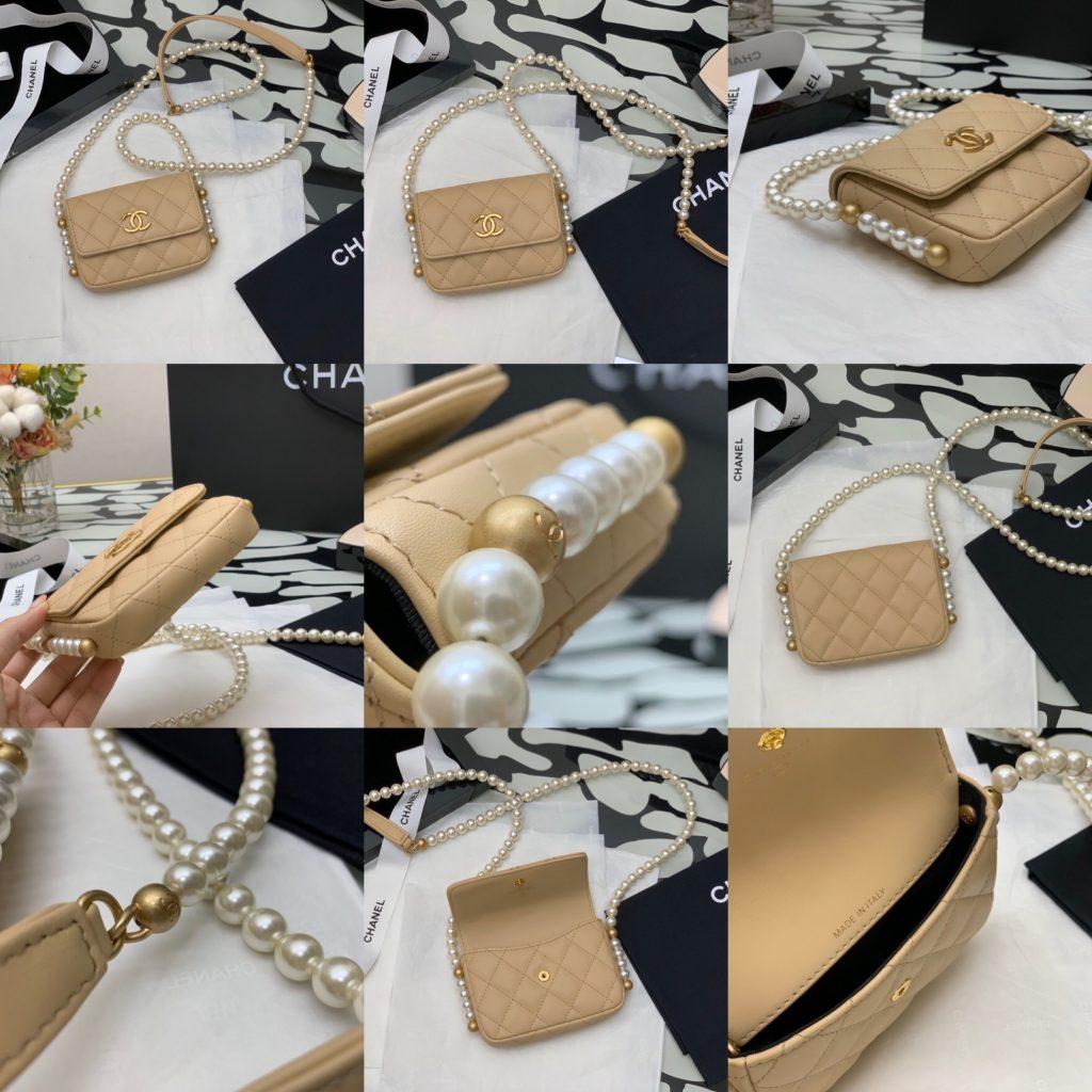 Chanel,香奈儿珍珠链条小卡包,9*12*4cm